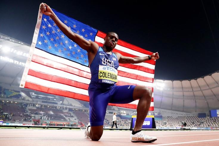 Кристиан Коулман победил на дистанции 100 метров, Джастин Гэтлин — второй