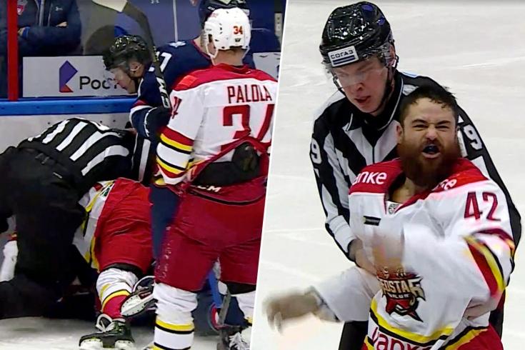 Канадский хоккеист Хант начал бить русских