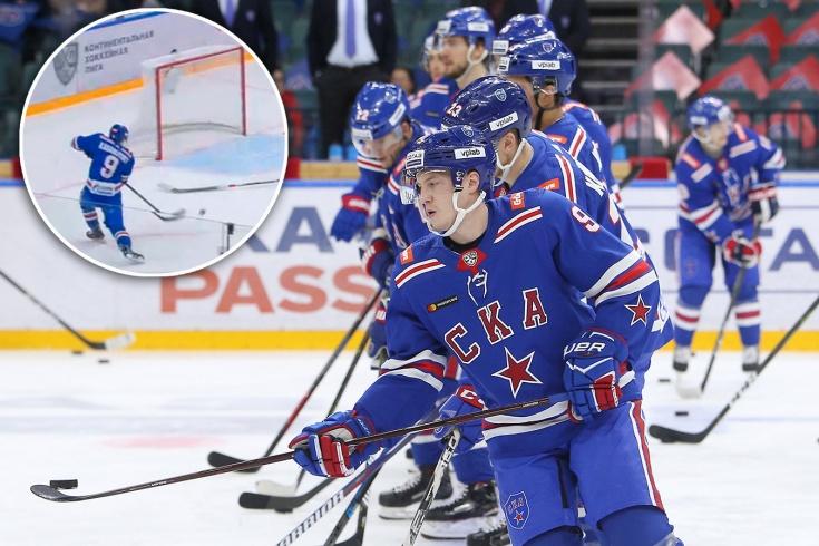 Нападающий СКА Дмитрий Кагарлицкий не попал в пустые ворота