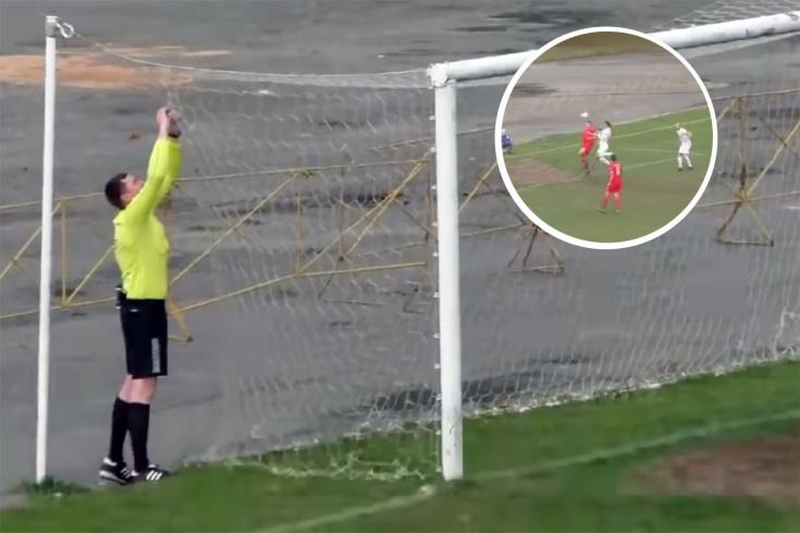 В Беларуси футболист порвал сетку ворот